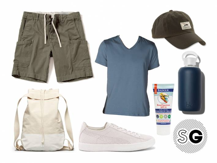 hiking, save khaki, v-neck tee, outerknown, cargo shorts, everlane, puma, orvis, bkr