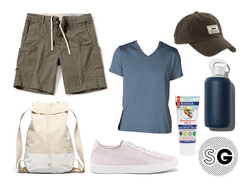 hiking, save khaki, v-neck tee, outerknown, cargo shorts, everlane, puma, orvis, bkr