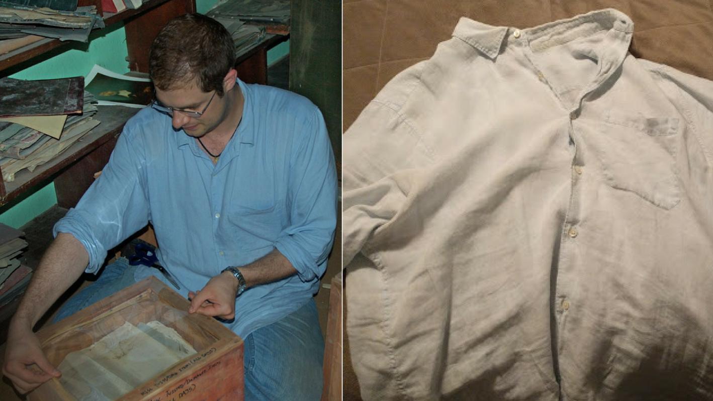 blue linen shirt, reader spotlight, real guy style