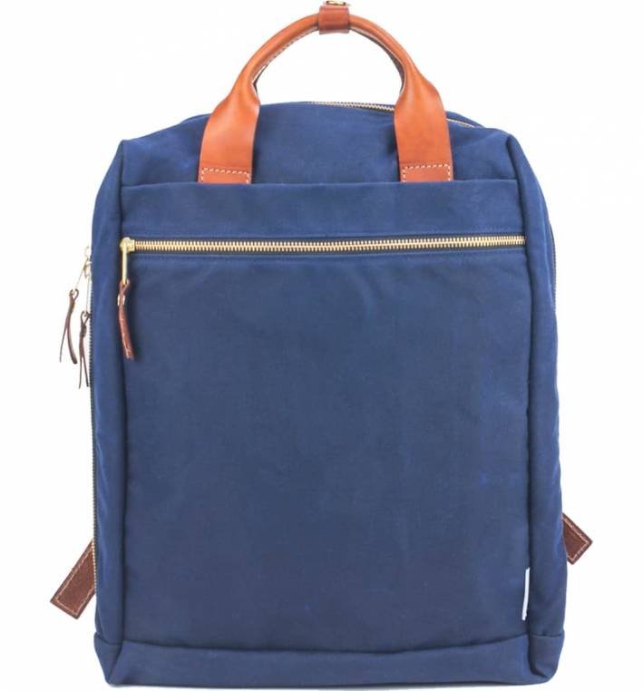 blue Boarding Pass waxed canvas backpack