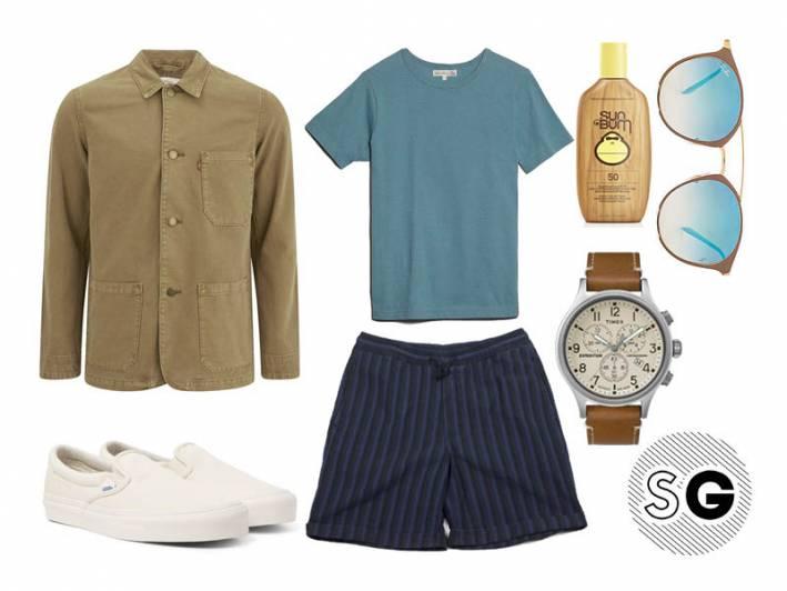 chore coat, levi's, timex, vans, sun bum, eidos, ray-ban, merz b schwanen, summer bbq, summer layer