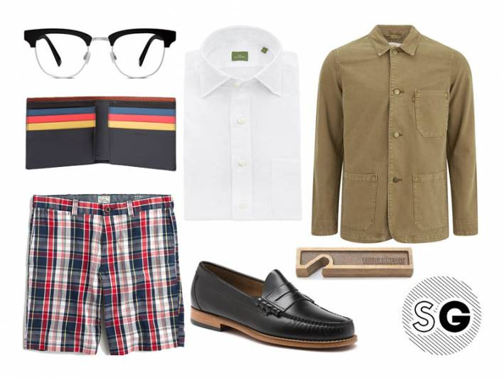 chore coat, sid mashburn, bass, weejuns, warby parker, paul smith, levi's, beer opener,