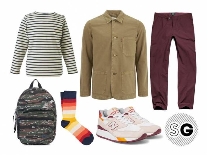 chore coat, levi's, breton shirt, pair of thieves, herschel, back to school, todd snyder, new balance, study style, study date