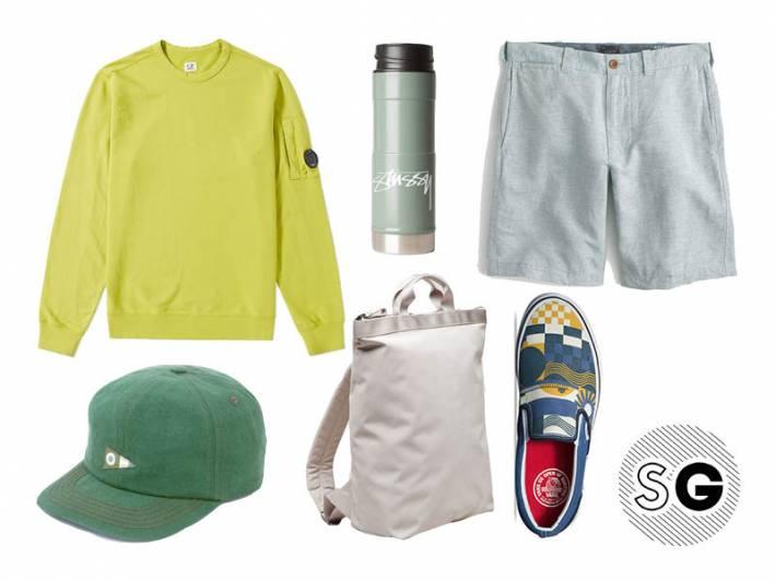 c.p. company, linen shorts, vans, cos, mullosk, stussy