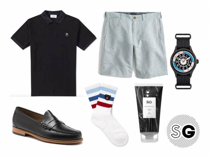 linen shorts, punk, jeff goldblum, socks with loafers, white socks with loafers, timex, todd snyder, j.crew, wood wood, bass weejuns, gucci,