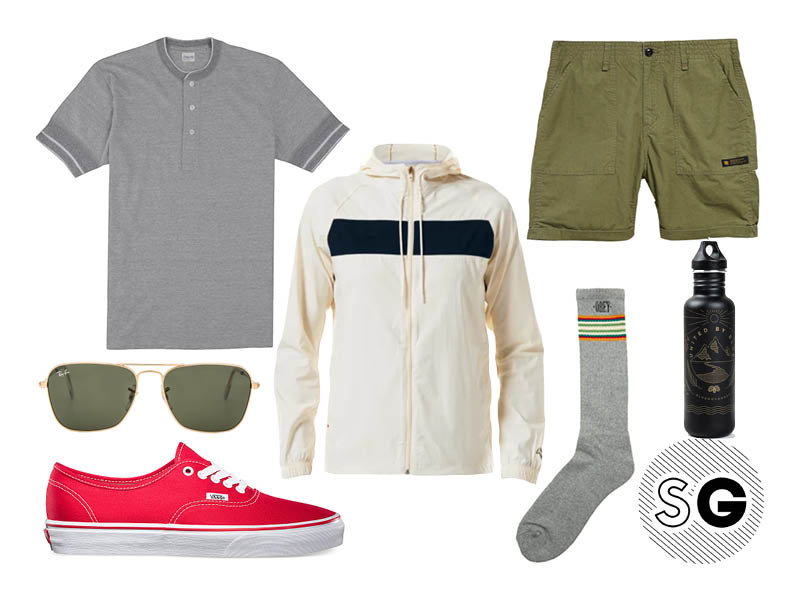 windbreaker, neighborhood, shuttle notes, obey, ray-ban, vans, united by blue