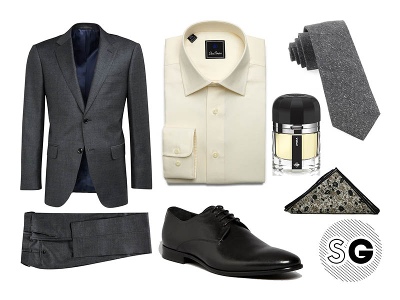 charcoal suit, suit supply, david donahue, harrison blake, wedding, summer wedding, fall wedding, the tie bar