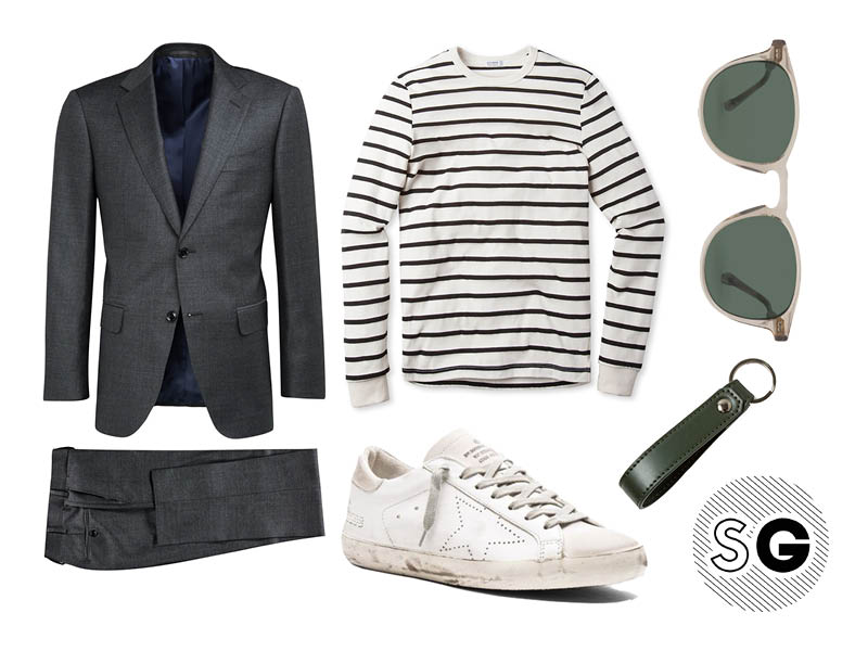 charcoal suit, suit supply, breton shirt, golden goose, buck mason, suit and sneaks, suit and sneakers, everlane, suit supply, steven alan