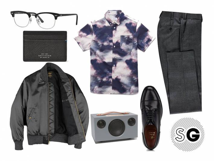 suit supply, charcoal suit, saturdays nyc, audio pro, alden, golden bear, ray-ban, smythson