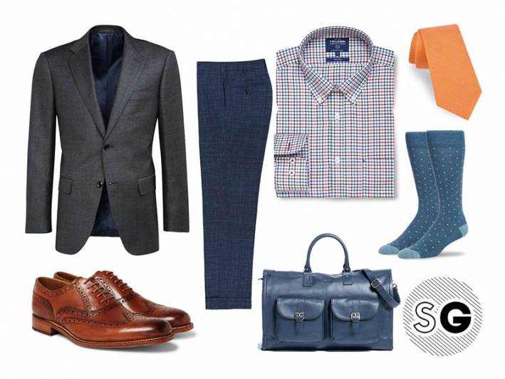suit supply, charcoal suit, mack weldon, ted baker, t.m. lewin, business, travel, business trip, weekender, grenson,
