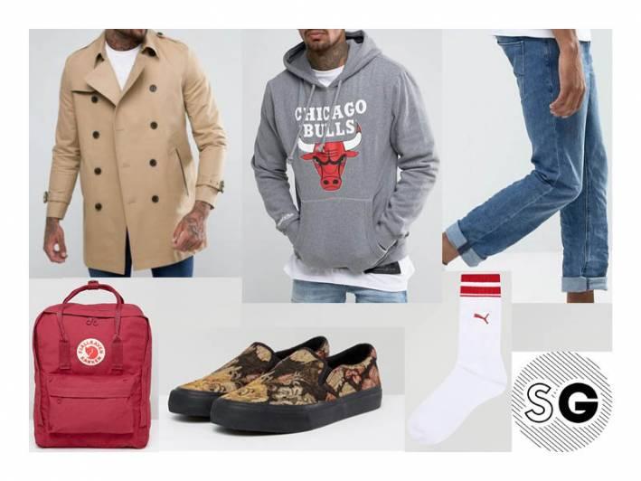 asos, hoodie, trench coat, slip-ons, kraken, college style