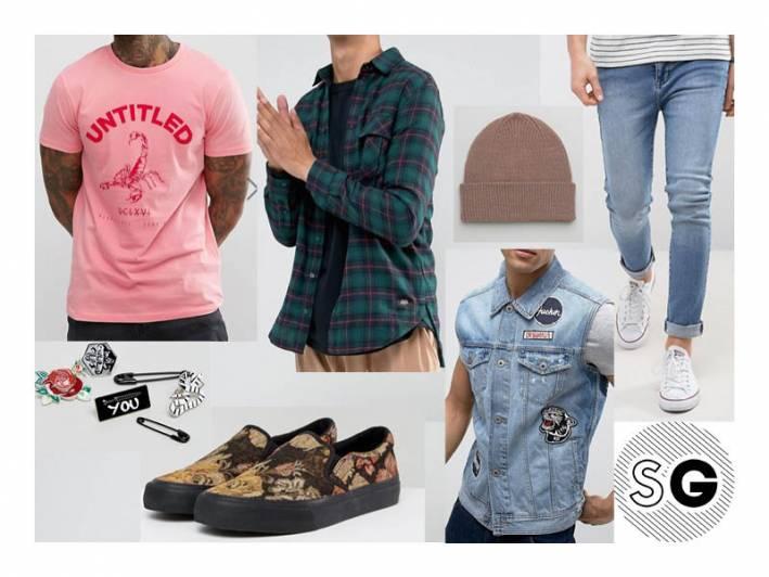 asos, slip-ons, flannel, pins, 90's, graphic tee, stonewash denim