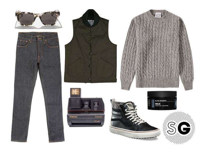 cable knit sweater, vans, polaroid, nudie jeans, saturdays nyc, golden bear, unionmade goods, blind barber