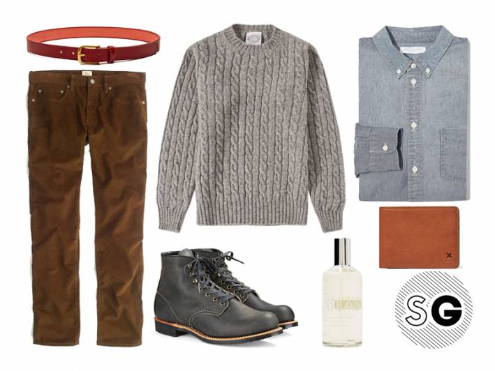 cable knit sweater, j.crew, maximum henry, laboratory perfumes, everlane, red wing