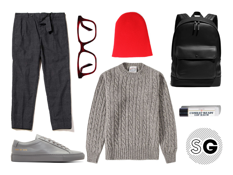 cable knit sweater, common projects, outerknown, steven alan, homecore, warby parker, follain, end clothing, skincando