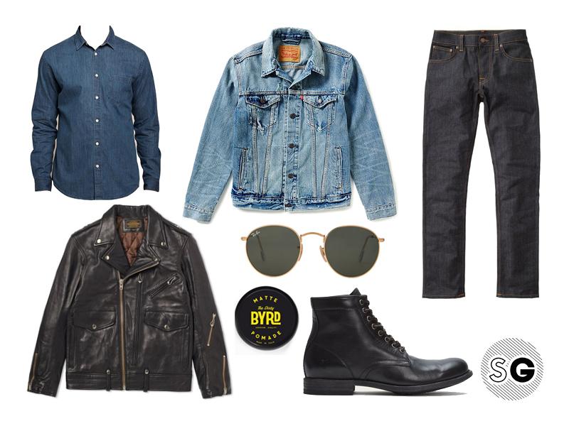 light wash denim jacket, leather jacket, neighborhood, nudie, byrd, frye, steven alan