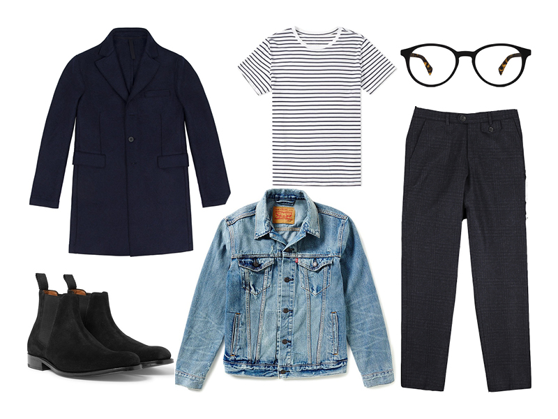 light wash denim jacket, denim jacket, levi's, harris wharf, save khaki, oliver spencer, grenson, warby parker