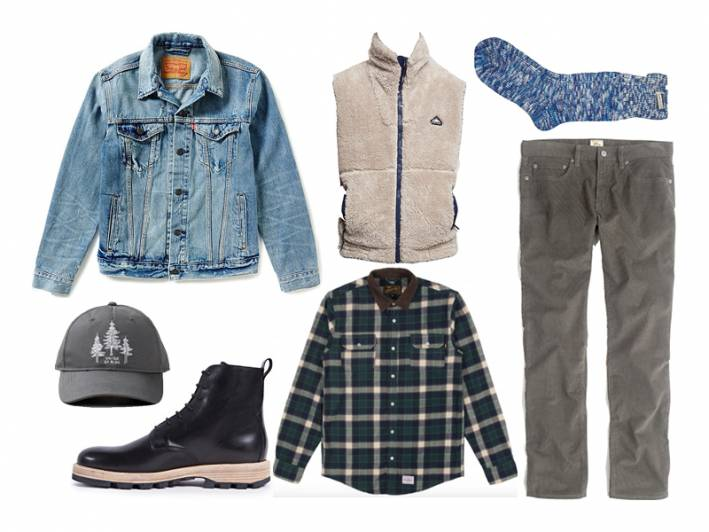 light wash denim jacket, denim jacket, benny gold, united by blue, j.crew, clarks, penfield, scotch & soda