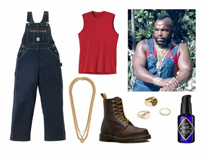 overalls, halloween, halloween costume, costume ideas, mr t., the a-team