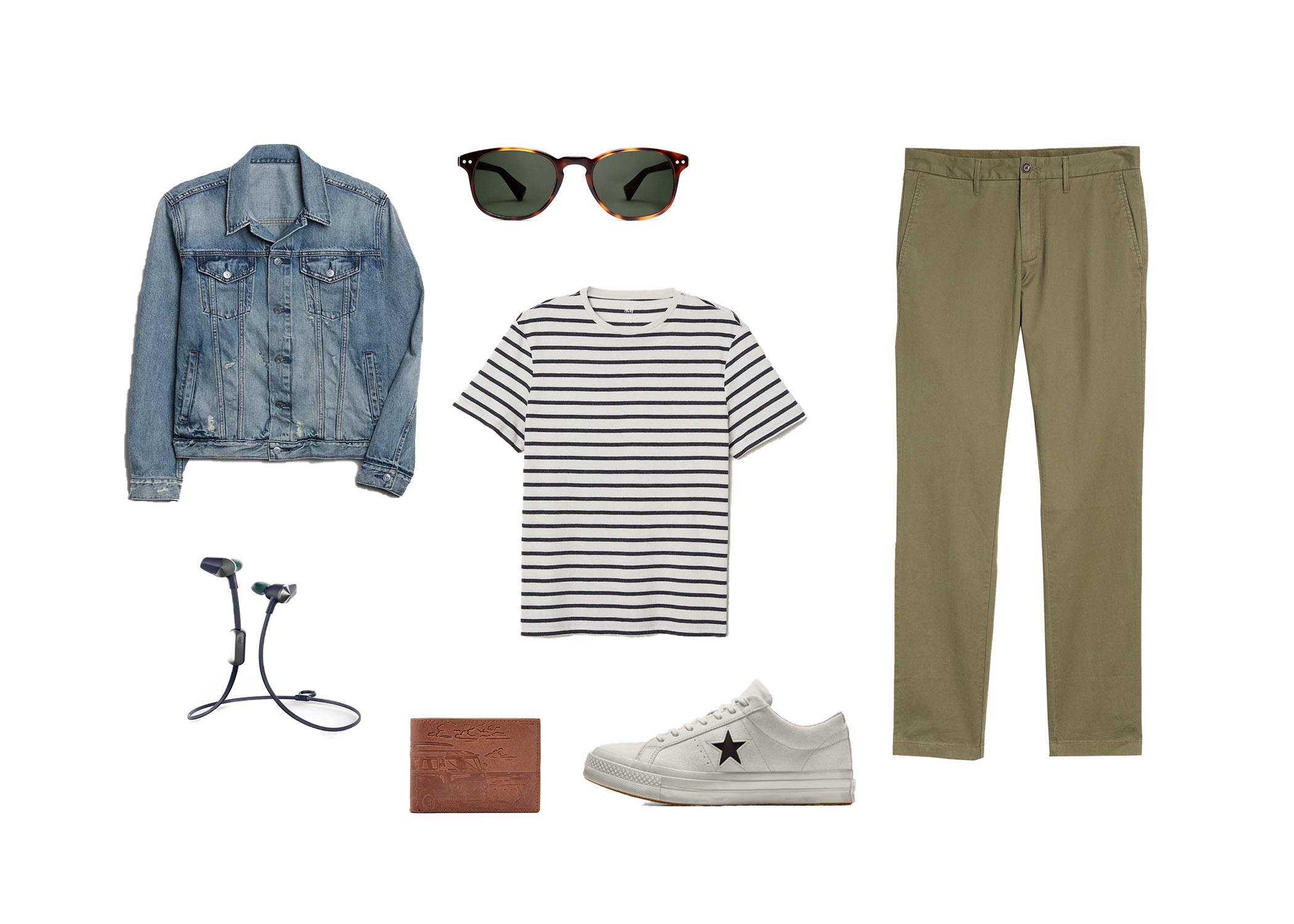 how to wear a striped t-shirt casual outfit