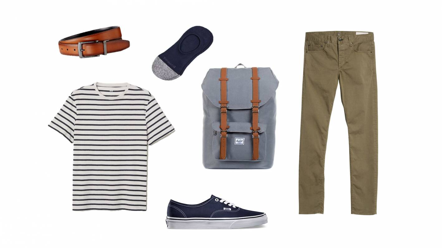 striped tshirt with pants casual outfit