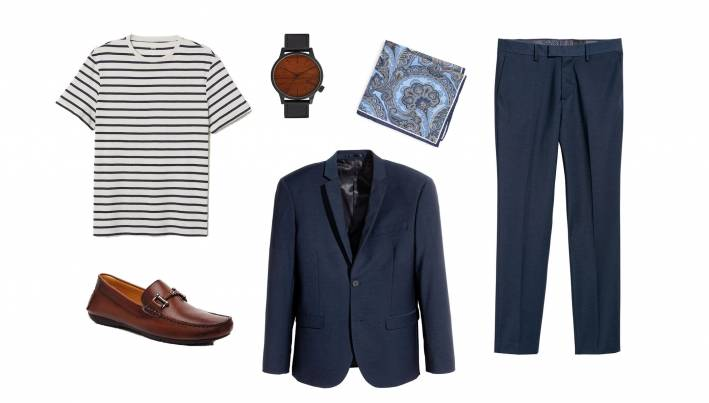 how to wear a striped tshirt with a suit