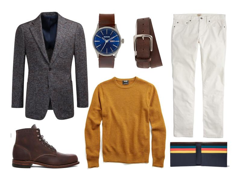 winter white cords, suit supply, todd snyder, nixon, bonbos, wolverine, paul smith, j.crew