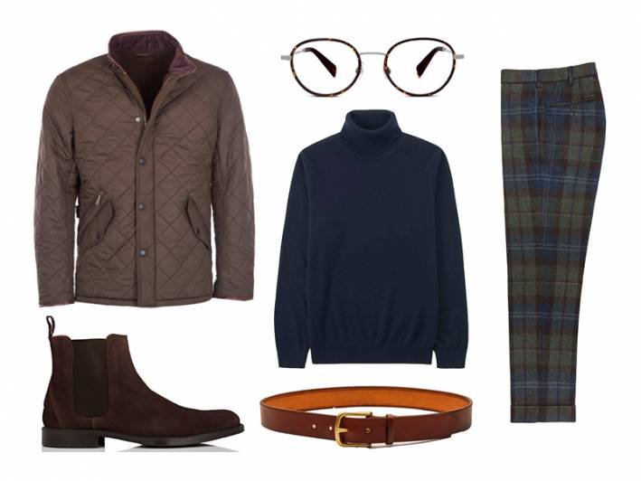 cashmere turtleneck, barbour, sid mashburn, uniqlo, maximum henry, barneys, warby parker, quilted jacket, plaid trousers, chelsea boots