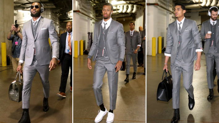 lebron james and cavaliers teammates in thom browne suits