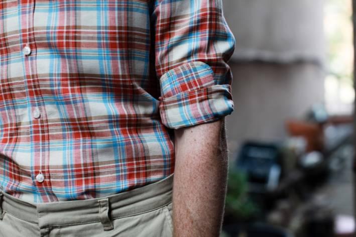 rolled shirt sleeve cuffed