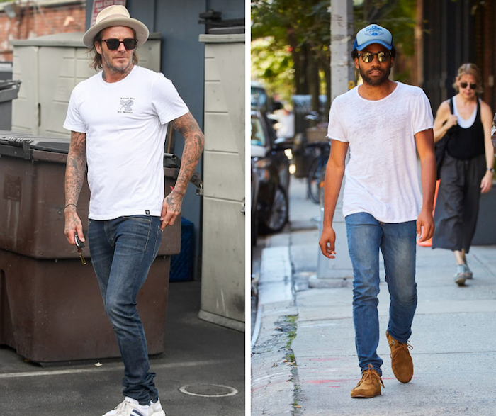 casual white t-shirt outfits for guys