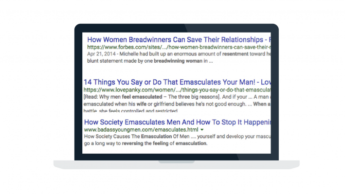 computer with headlines about men feeling emasculated by women
