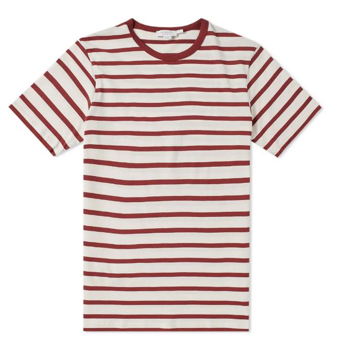 sunspel breton stripe red tee