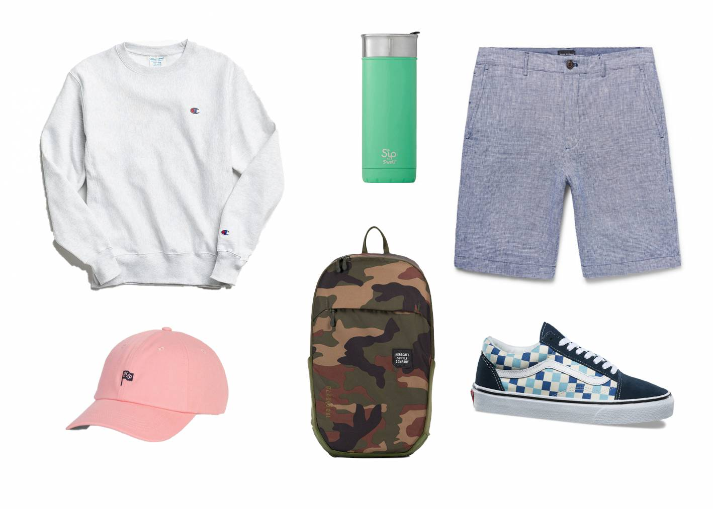 casual summer outfit with linen shorts and sweatshirt