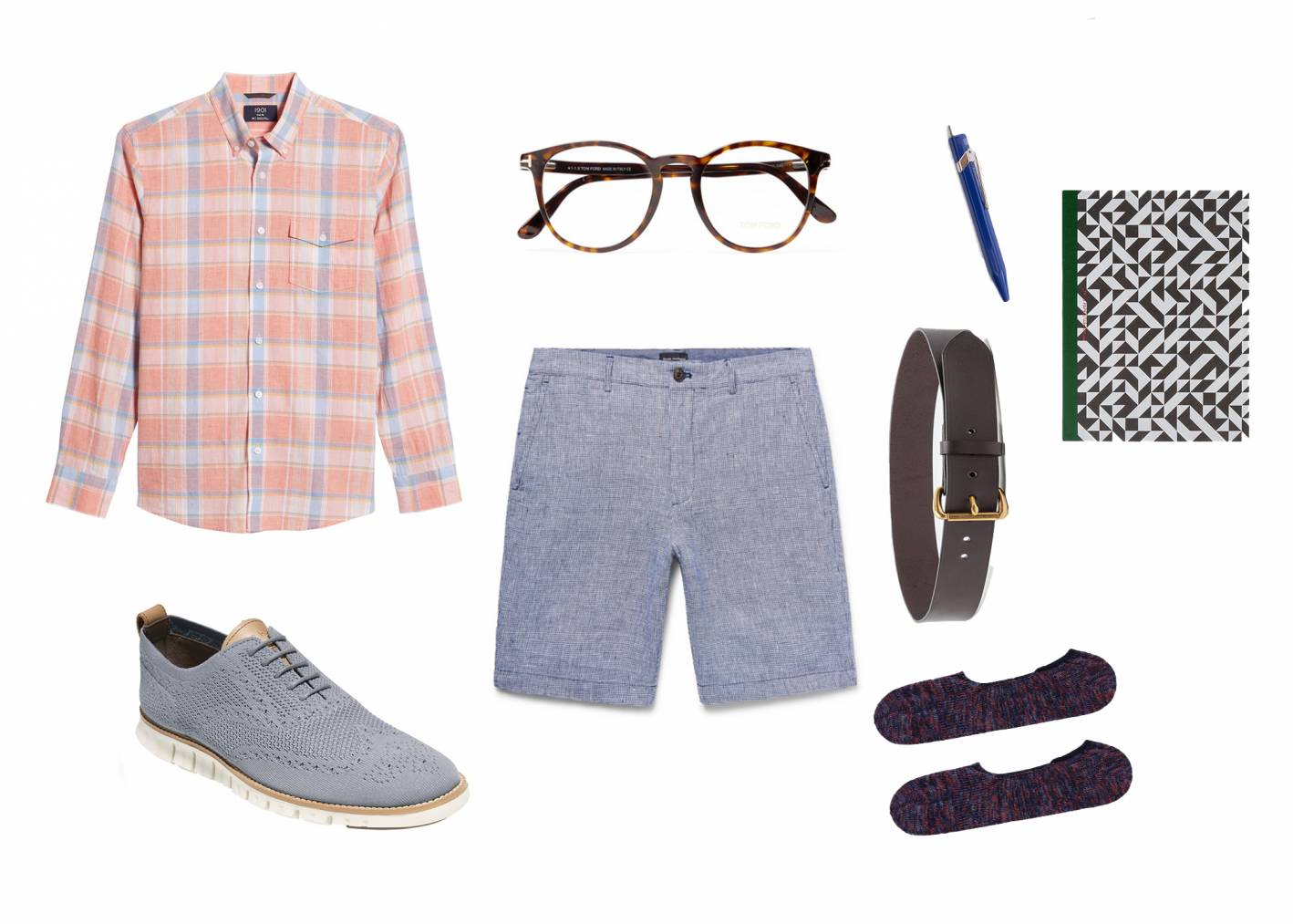 casual summer outfit with linen shorts
