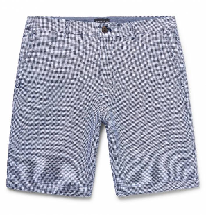 club monaco Slim-Fit Houndstooth Slub Linen Shorts