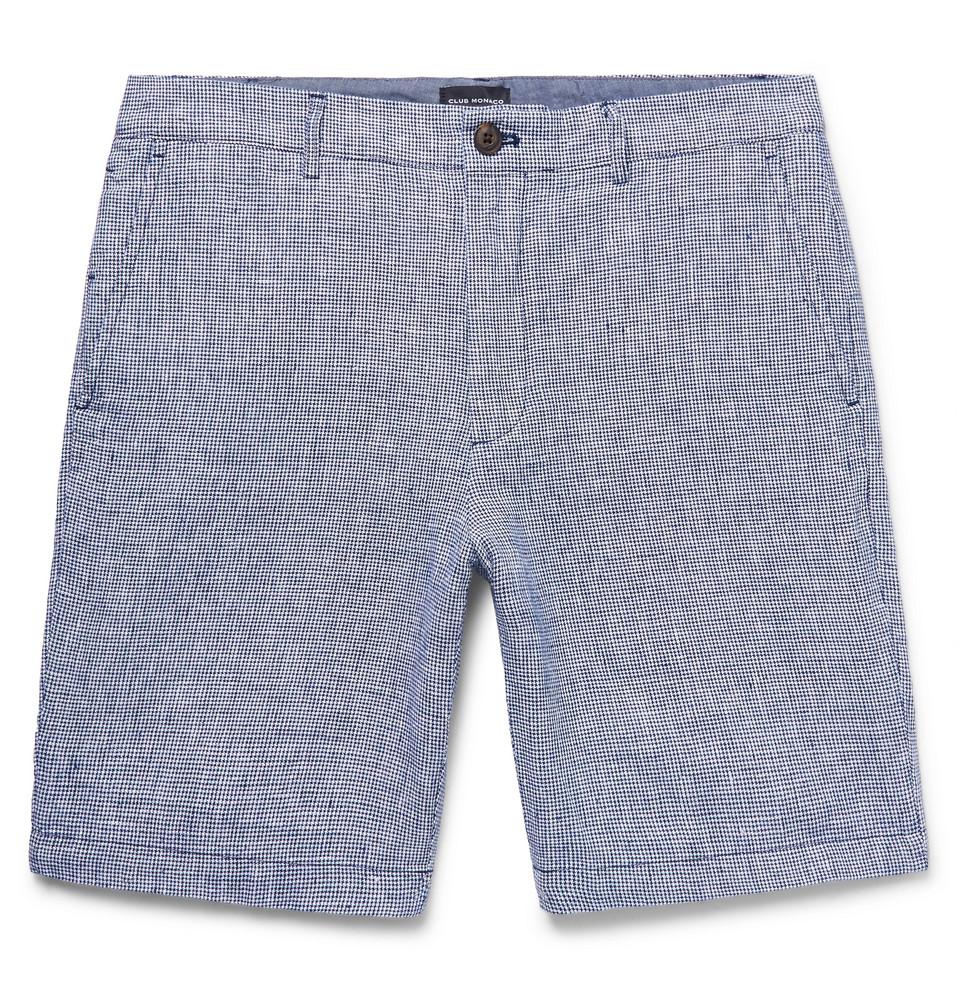 club monaco Slim-Fit Houndstooth Slub Linen Shorts