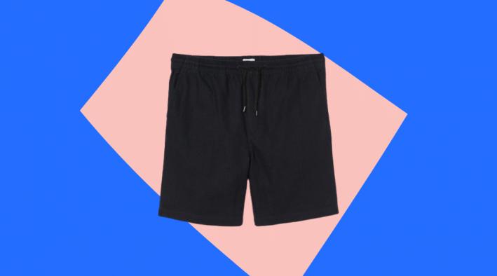 h&m black linen blend shorts