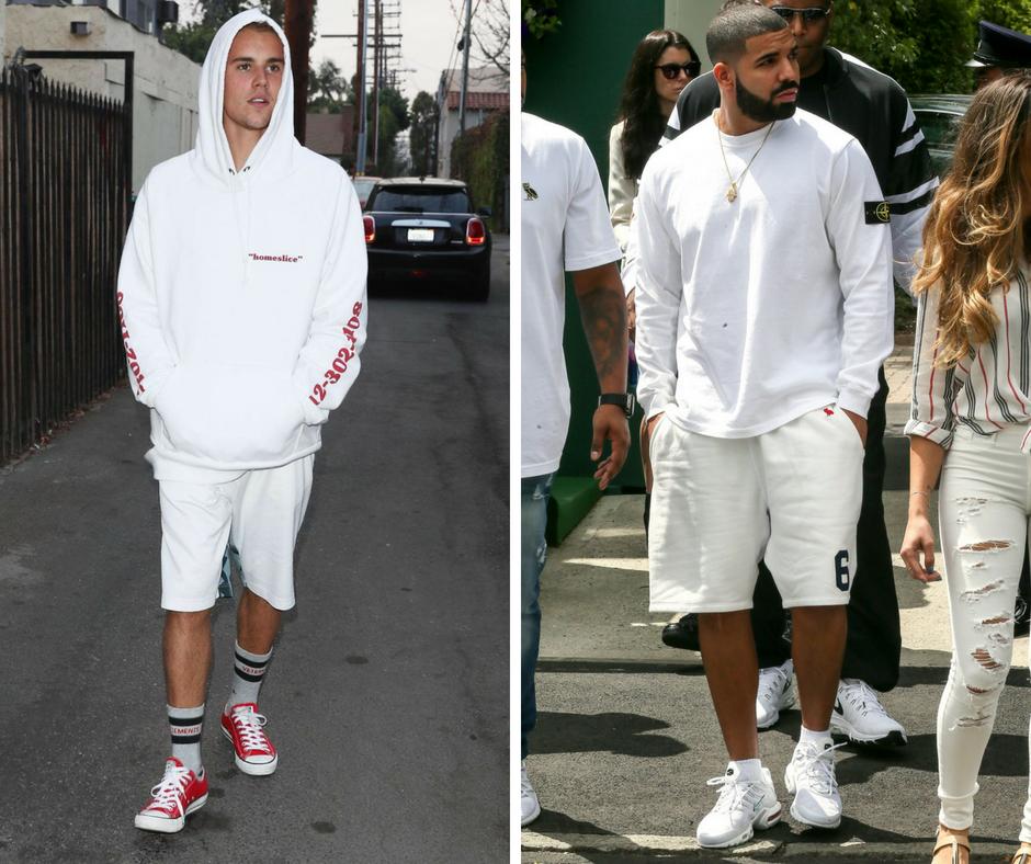 justin bieber and drake wearing white