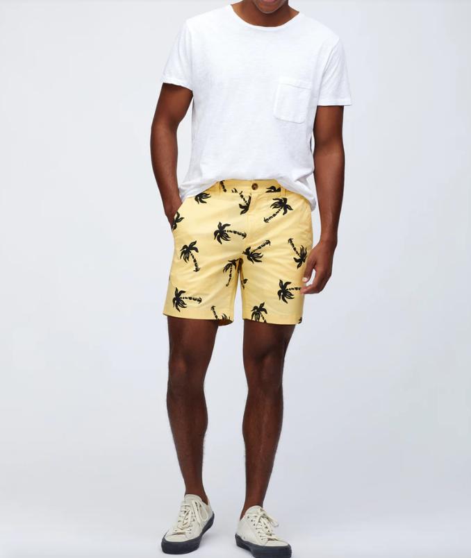 bonobos yellow palm print shorts