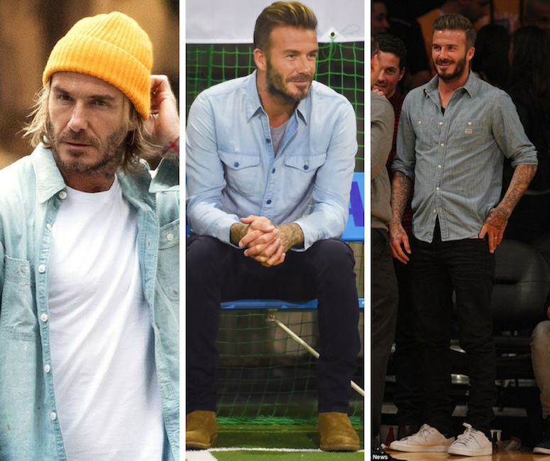 david beckham wearing chambray