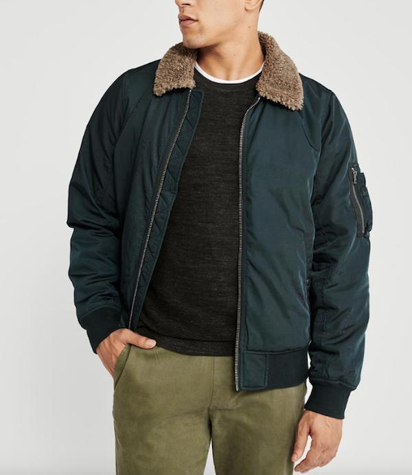 abercrombie sherpa collar bomber jacket