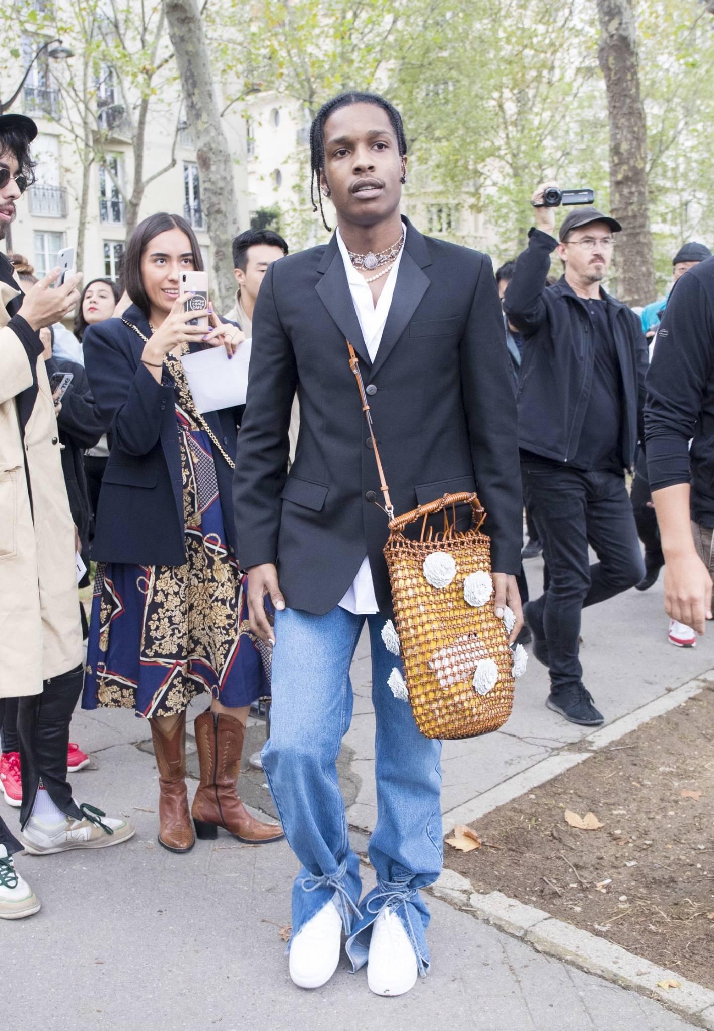asap rocky wearing a purse