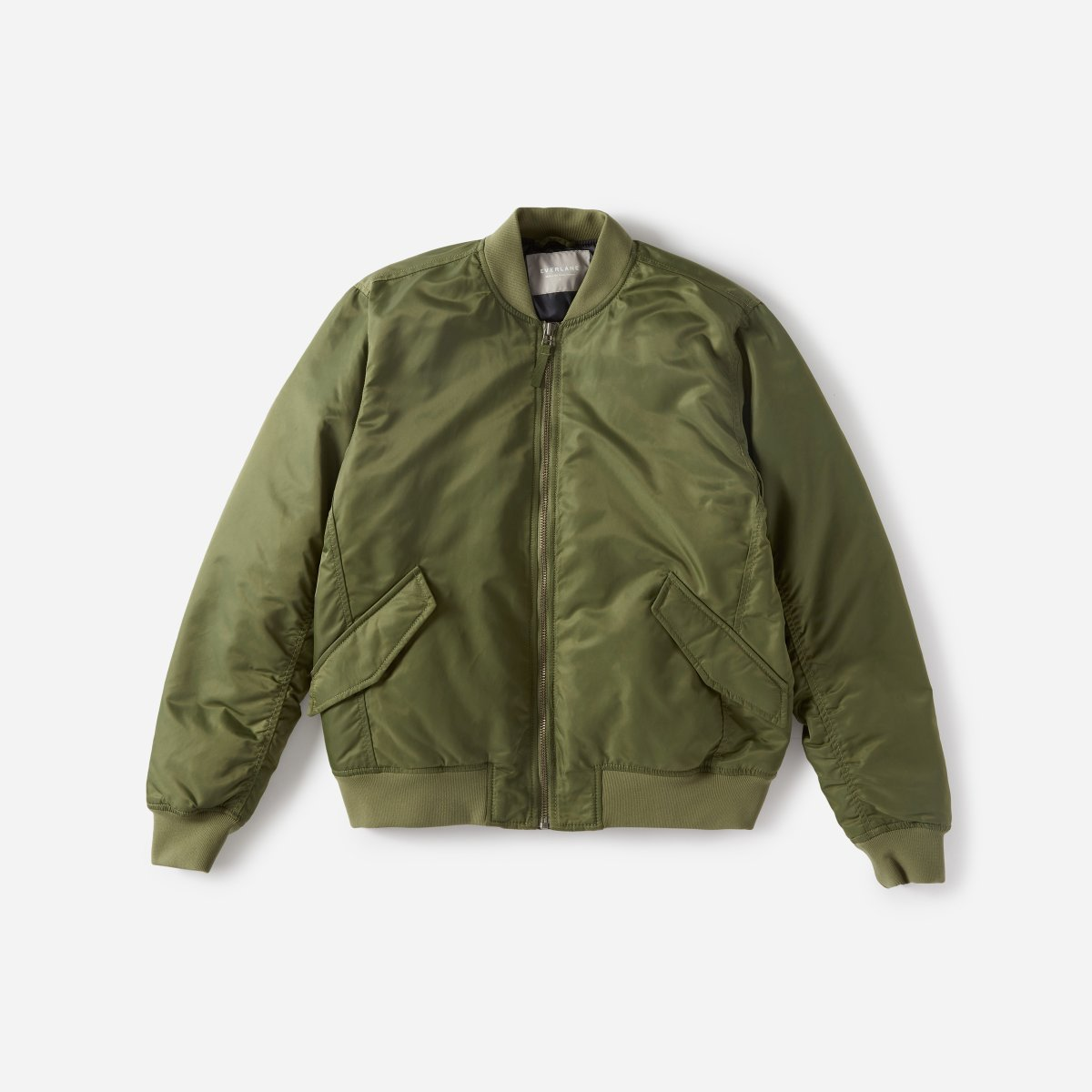 everlane army green bomber jacket