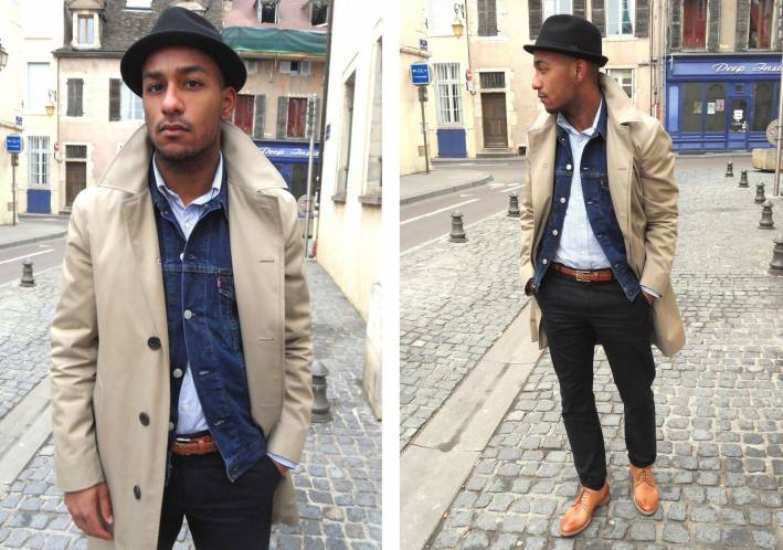 men's denim jacket with dress pants