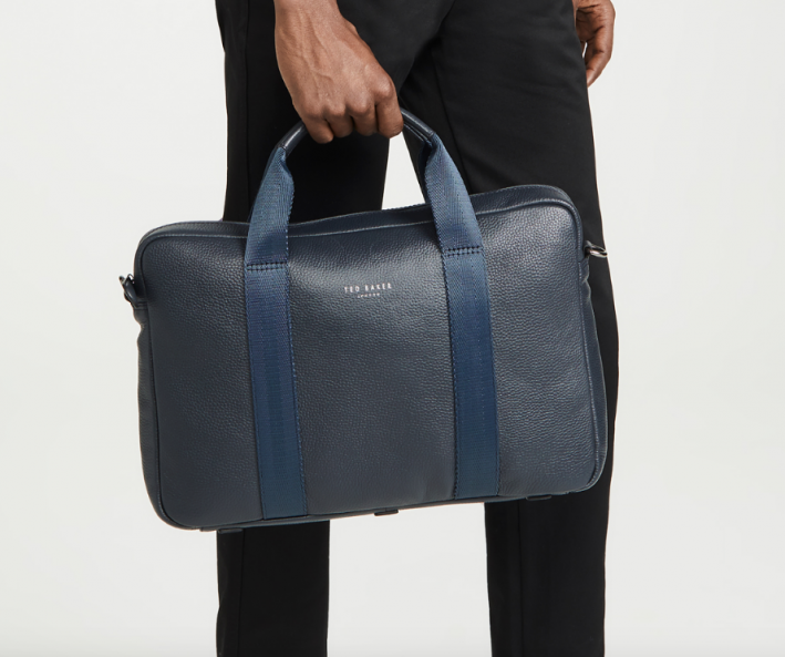 ted baker blue leather briefcase