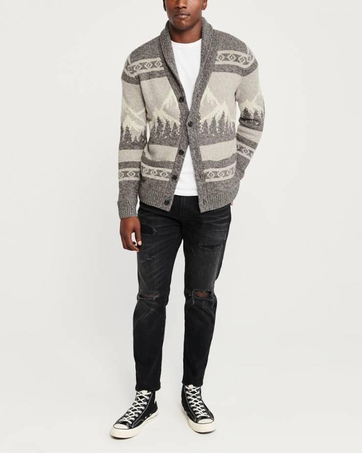 abercrombie fitch grey shawl cardigan