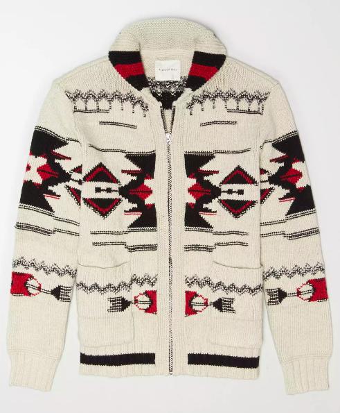 ae shawl collar zip cardigan