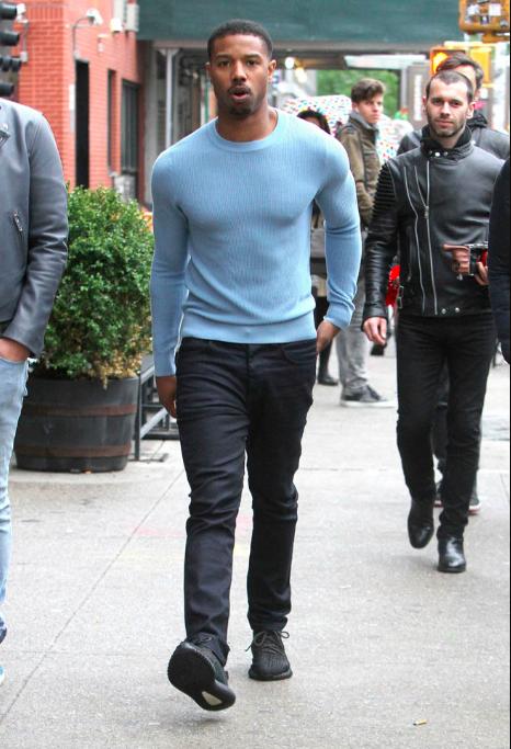 michael b jordan blue sweater