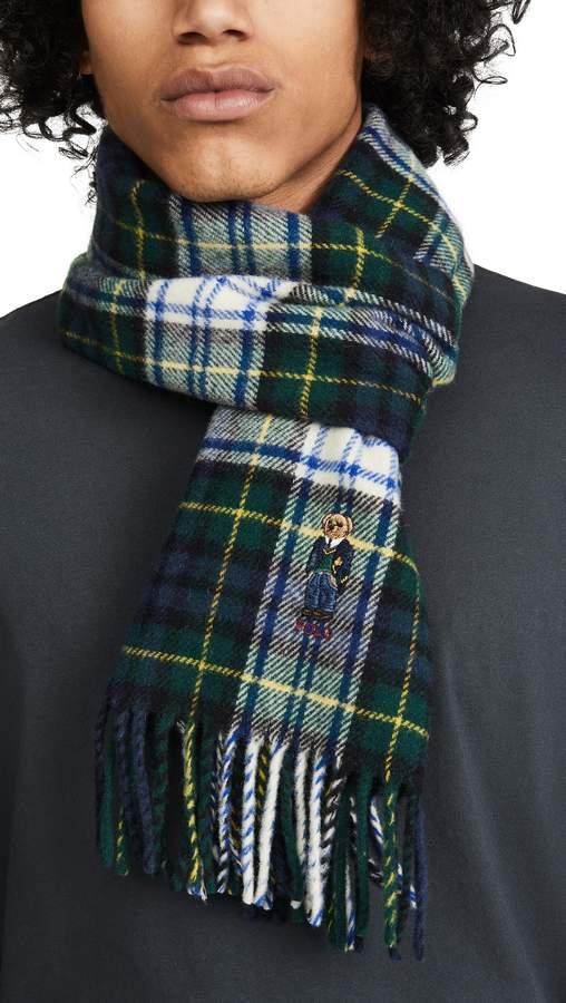 polo ralph lauren bear scarf in green plaid